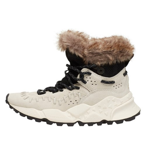 MOHICAN WOMAN Leather and fur sneakers White 2014298020N01-30