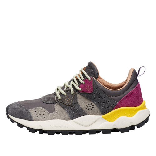 CORAX WOMAN Sneaker in suede and technical fabric Grey/fuchsia pink 2015284011B43-30