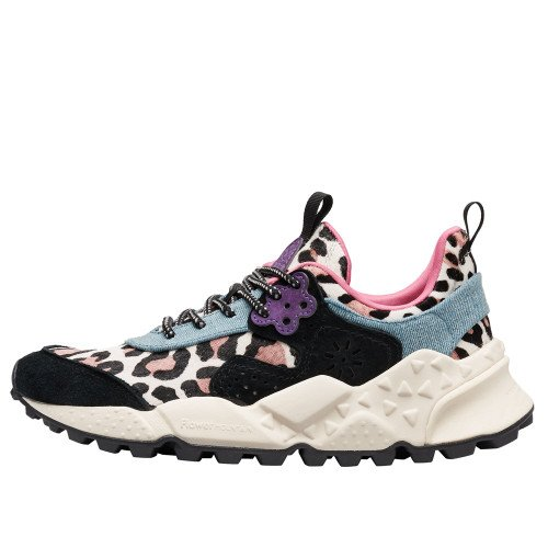 KOTETSU WOMAN Animal-print pony hair and suede sneakers Black/Light Blue 2016236041A03-30