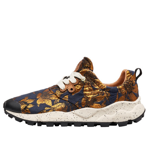 PAMPAS WOMAN Jacquard fabric sneakers Navy/Gold 2016275032C59-30