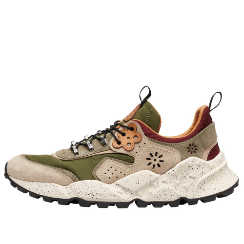 KOTETSU MAN HOOKS Suede and technical fabric sneakers Beige/Army Green 2016278011E10-30