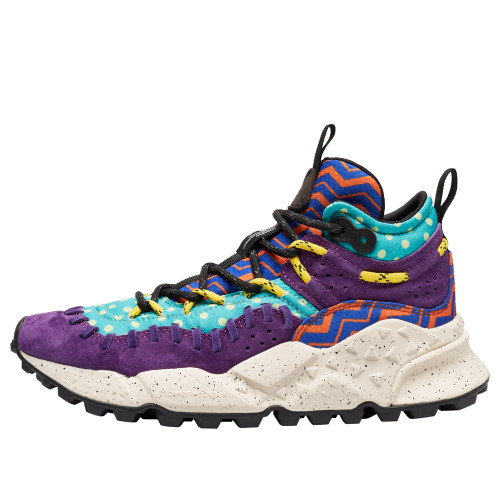 MORICAN WOMAN Printed technical fabric and suede sneakers Purple 2016300021I26-30