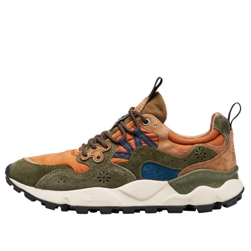 YAMANO 3 MAN Technical fabric and suede sneakers Green/Orange 2016301011F77-30