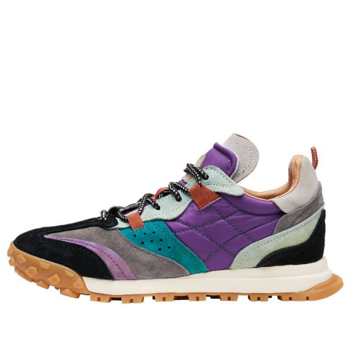 WALNUT WOMAN. Suede and padded technical fabric sneakers Black/Purple 2016348021A53-30