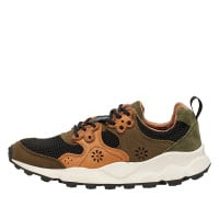 YAMANO 2 MAN - Sneakers in leather and mesh - Multi Military