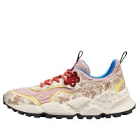 KOTETSU WOMAN - Knit fabric and printed leather sneakers - Beige/Pink