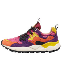 YAMANO 3 WOMAN - Technical fabric and suede sneakers - Orange/Purple