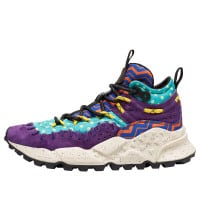 MORICAN WOMAN - Printed technical fabric and suede sneakers - Purple