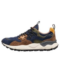 YAMANO 3 MAN - Technical fabric and suede sneakers - Navy/Grey