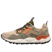 YAMANO 3 MAN - Technical fabric and suede sneakers - Grey/Orange