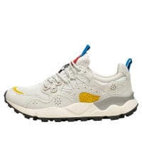 YAMANO 3 MAN - Technical fabric and suede sneaker - White