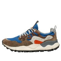 YAMANO 3 MAN - Sneaker in technical fabric and suede - ROYAL-BROWN