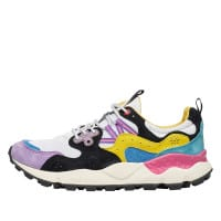 YAMANO 3 MAN - Sneaker in technical fabric and suede - WHITE-VIOLET