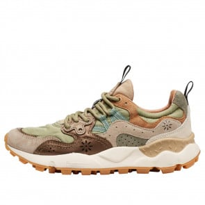 YAMANO 3 WOMAN Suede and metallic leather sneakers Beige/Army Green 2016299011E10-20