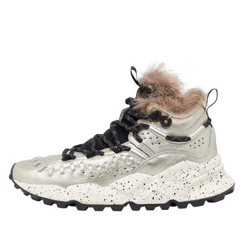 MOHICAN WOMAN Sneaker in vitello con dettagli eco-fur Grigio 2015289031B41-30