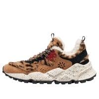 KOTETSU WOMAN - Sneaker in eco fur stampata e suede - Beige/Nero