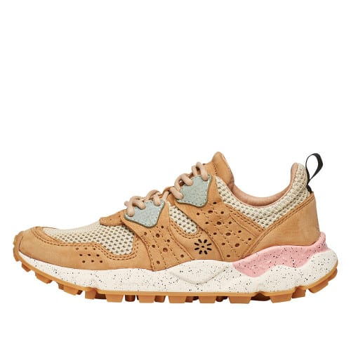 CORAX WOMAN Leather and fabric sneakers Beige 2014303040E01-30