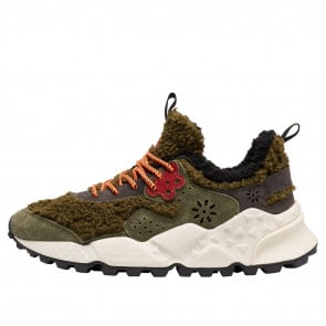 KOTETSU WOMAN Faux shearling and vegan-friendly suede sneakers Army green 2016236091F98-20